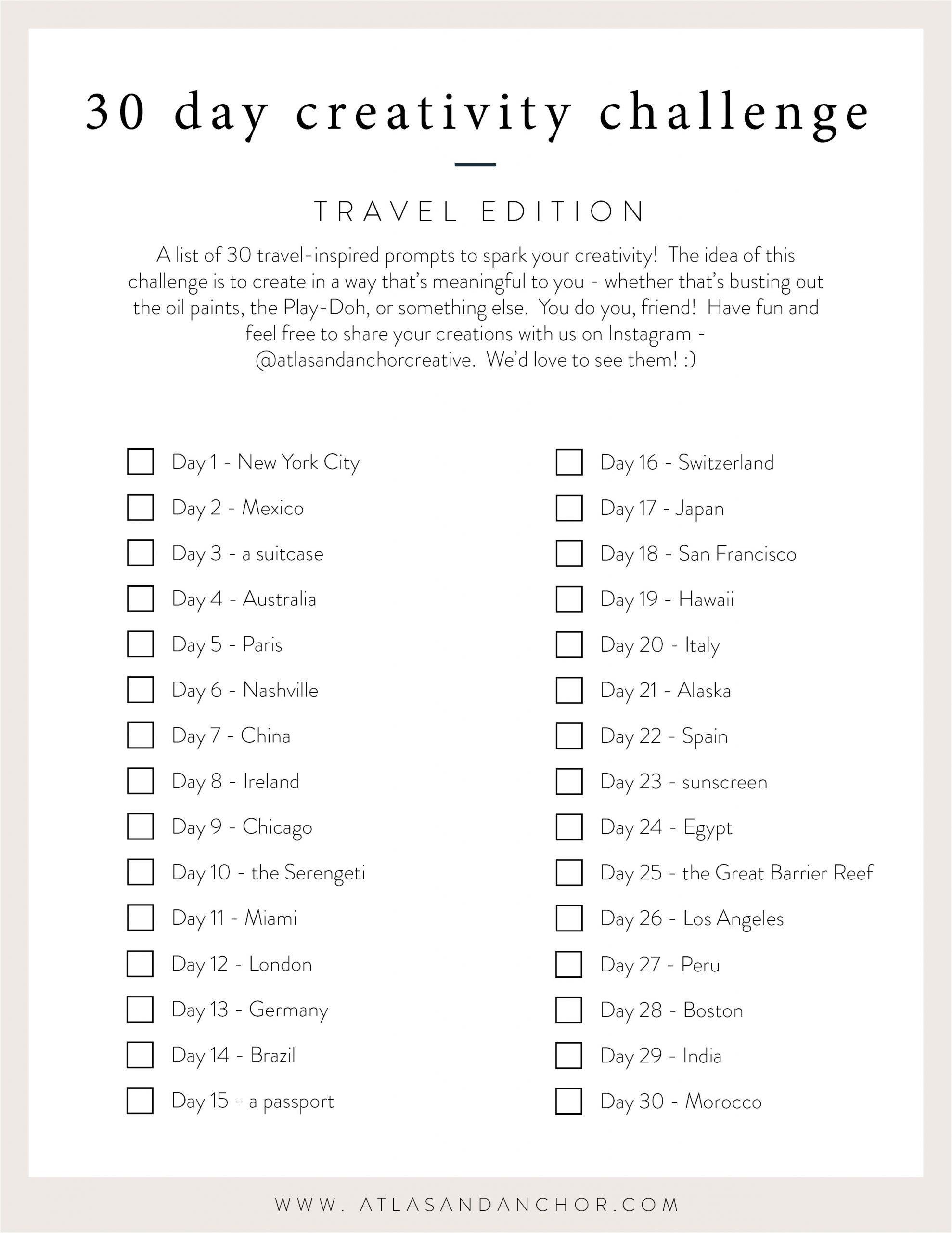 30 day creativity challenge