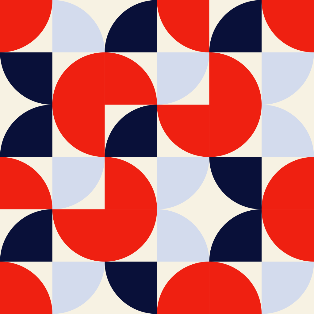 geometric red and blue half circle pattern