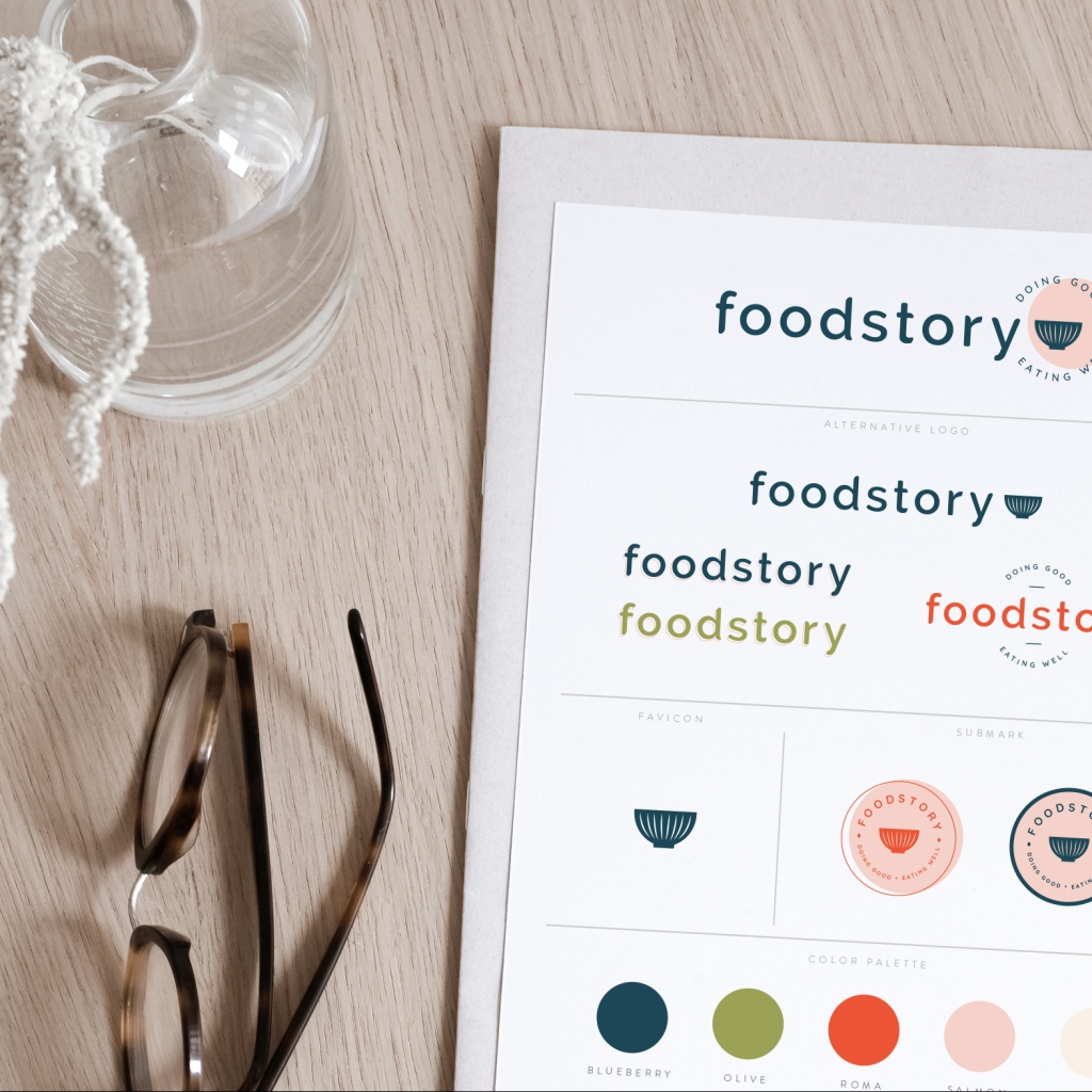 foodstory brand guide on a table