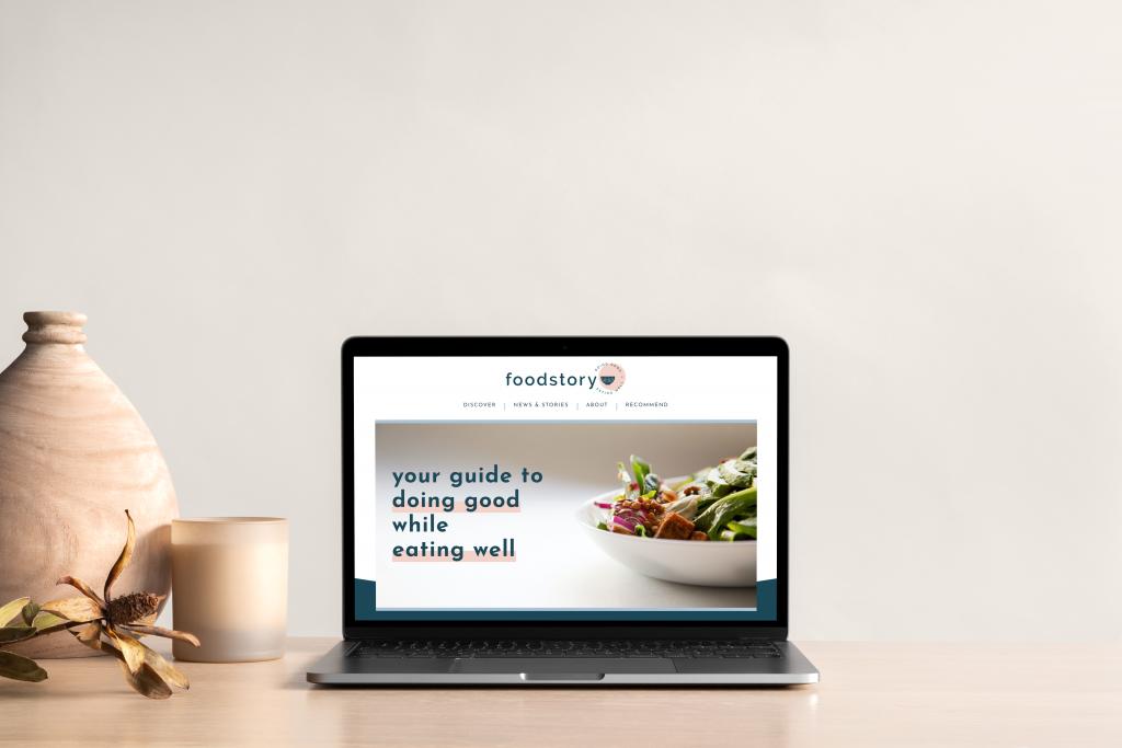 foodstory website on laptop