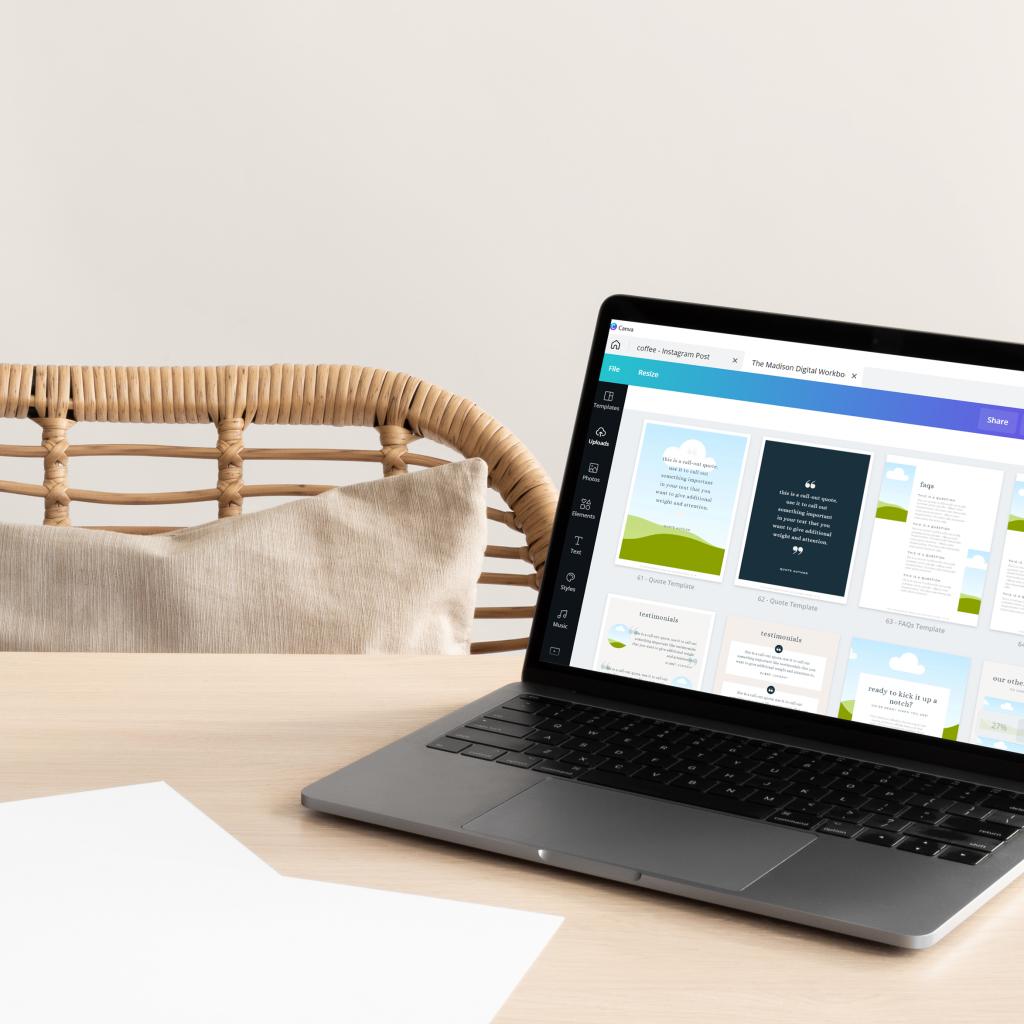 canva on laptop